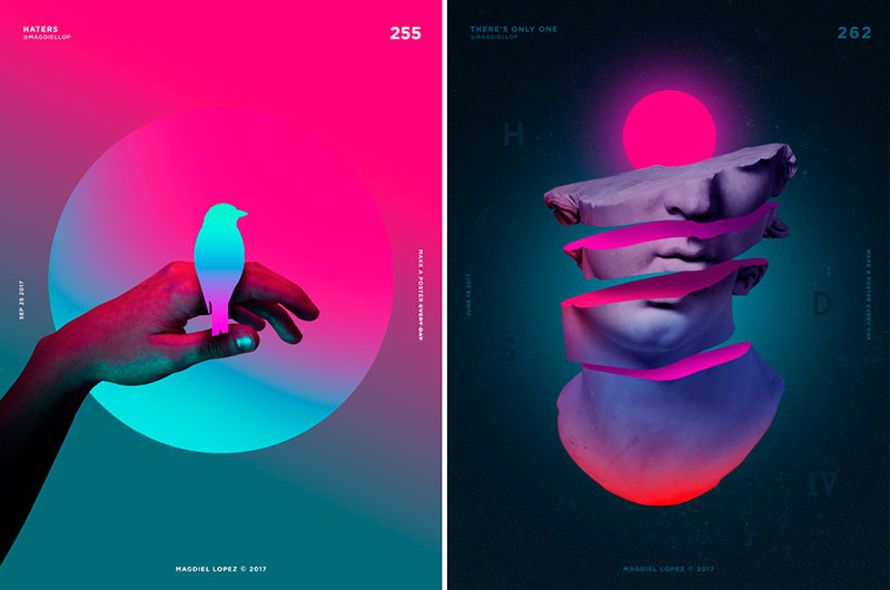 graphic design trends gradients and bold colors
