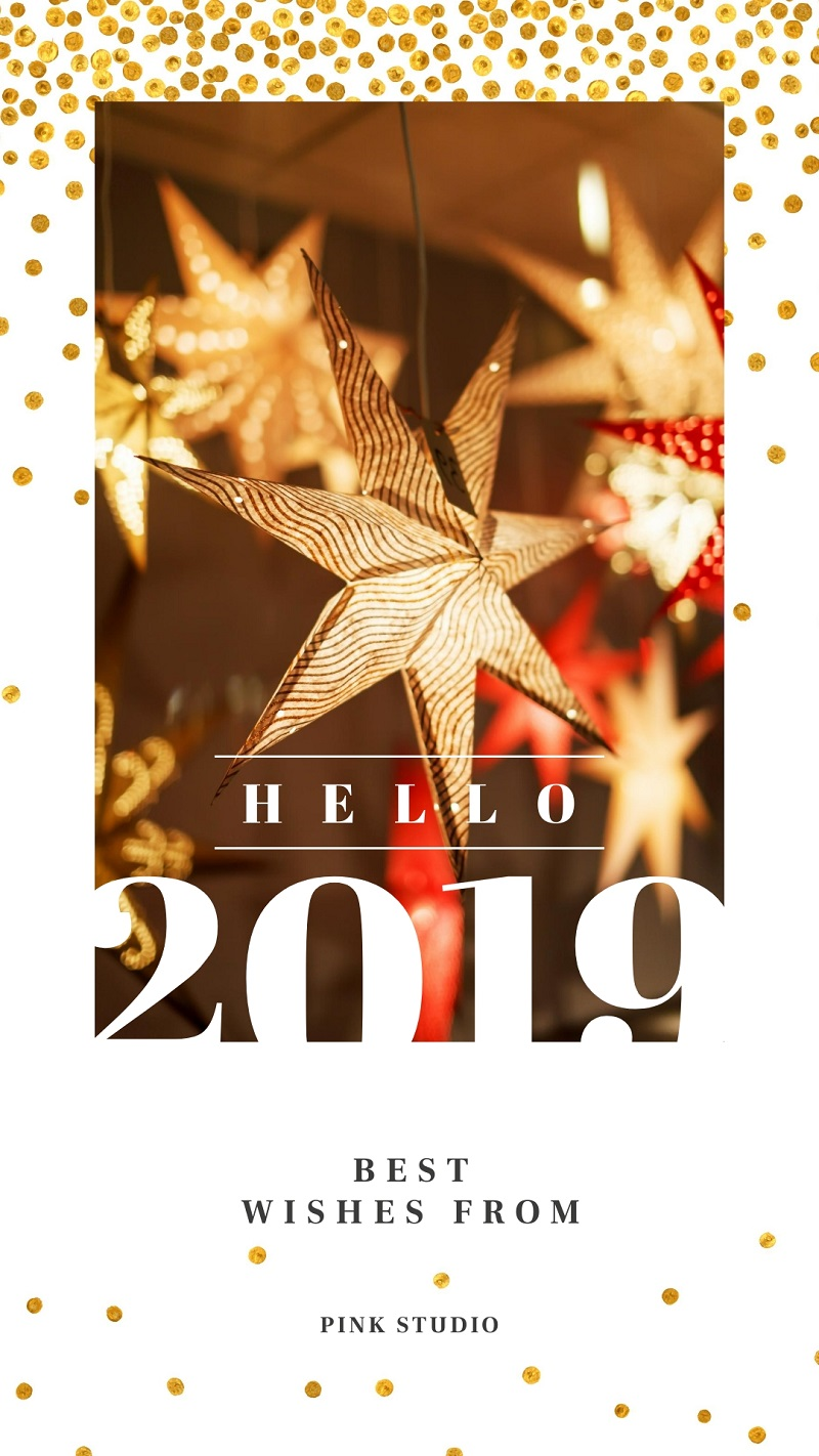sparkly golden star decorations for new year's instagrma story template free