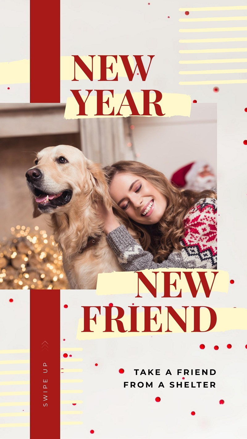 new year with a dog instagram story template free high resolution