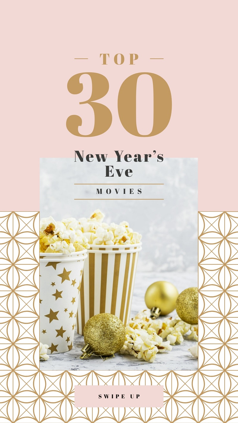 pink free template for instagram stories for new year's popcorn pink gold yellow