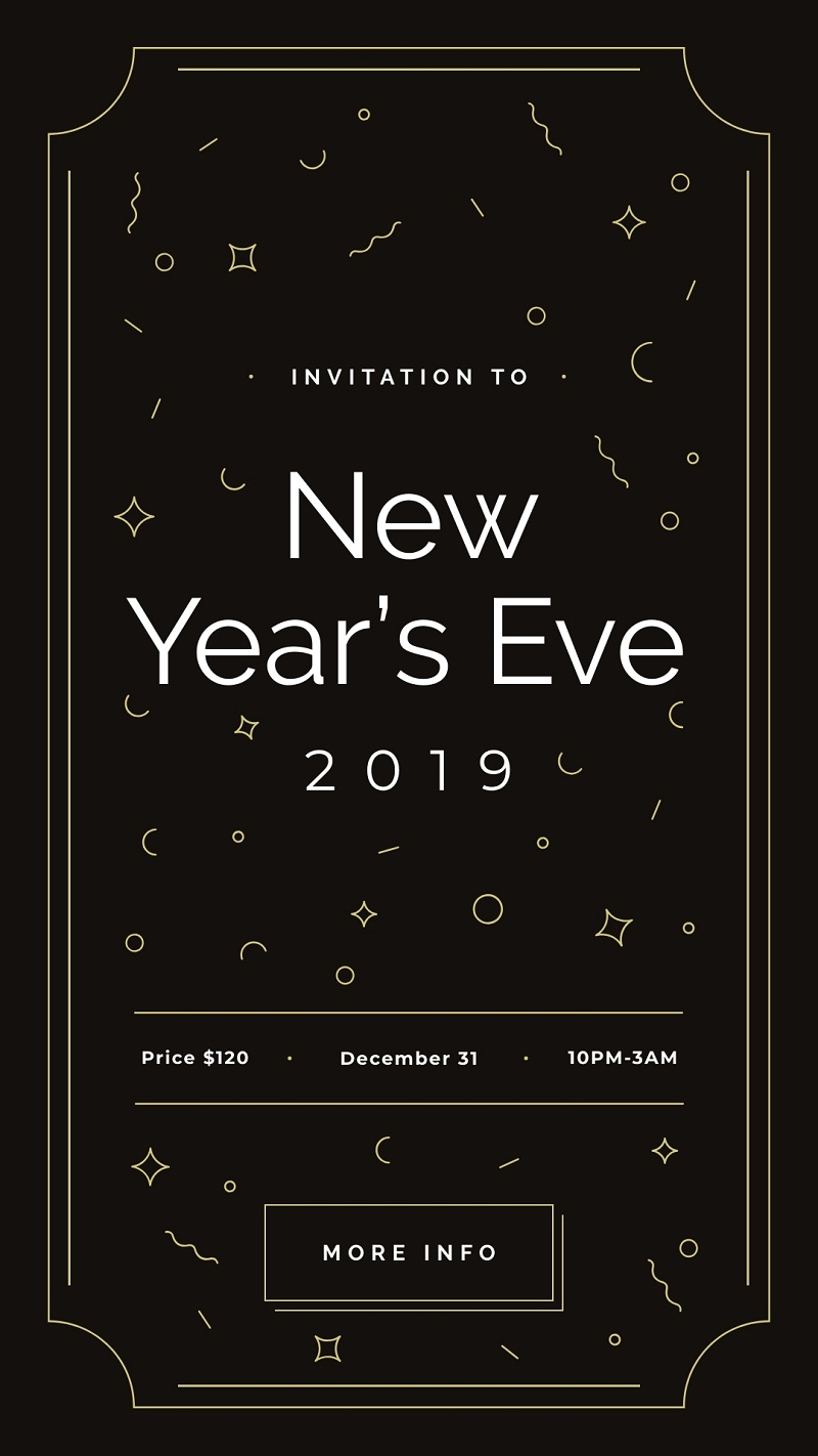 new year's eve blakc invite instagram story free editor on PC