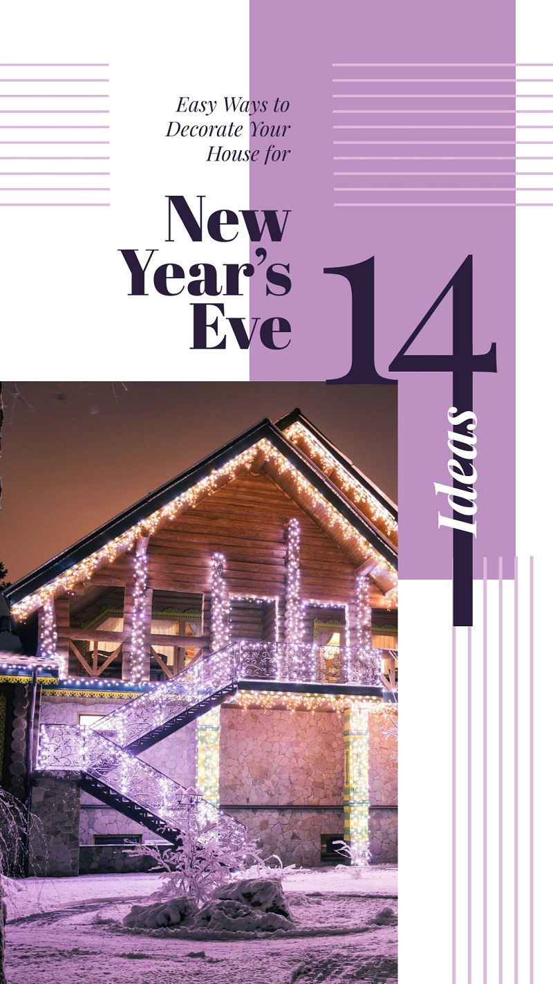 violet lilac holiday house lights free template for instagram stories new year's eve online graphics editor
