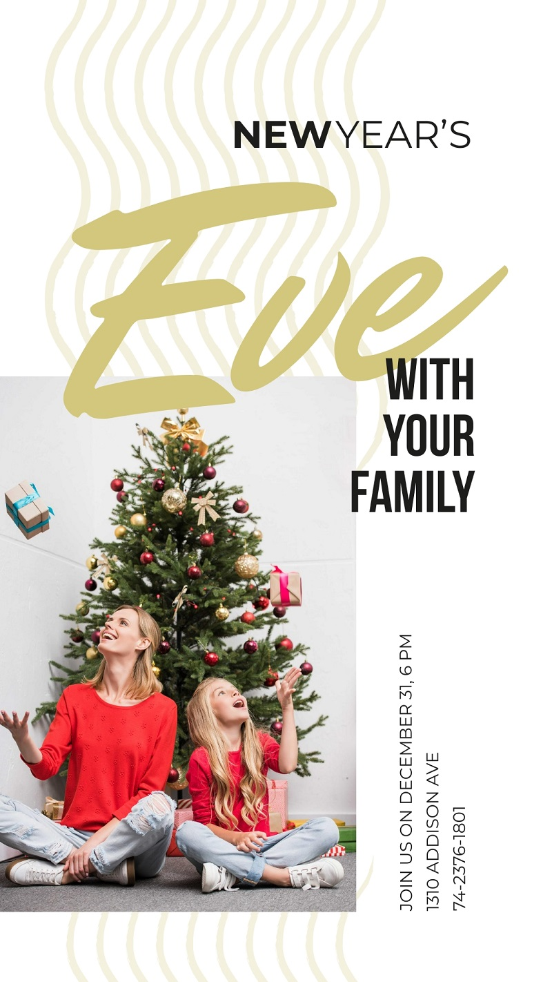christmas tree family new year story template
