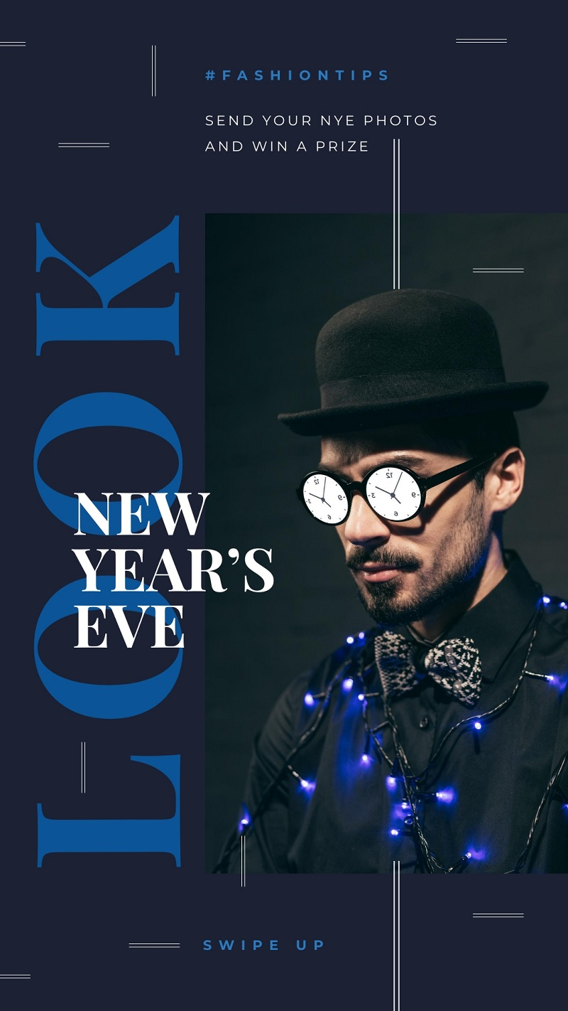 new year party instagram story template blue dark