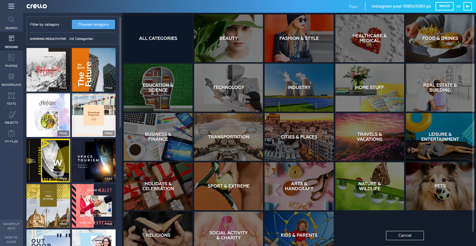 image and template categories in online graphic design tool crello