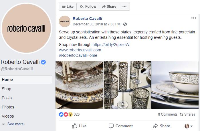 cavalli dinnerware facebook post