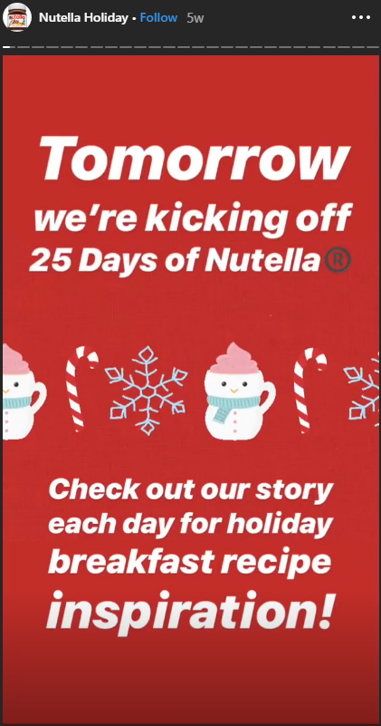 Nutella instagram story holiday campaign 2018