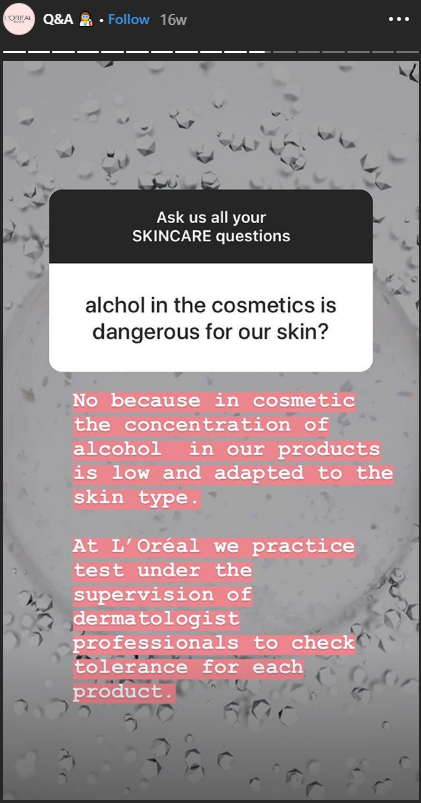 loreal instagram story