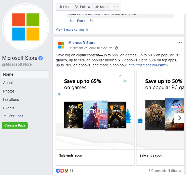microsoft store shop now cta in facebook post