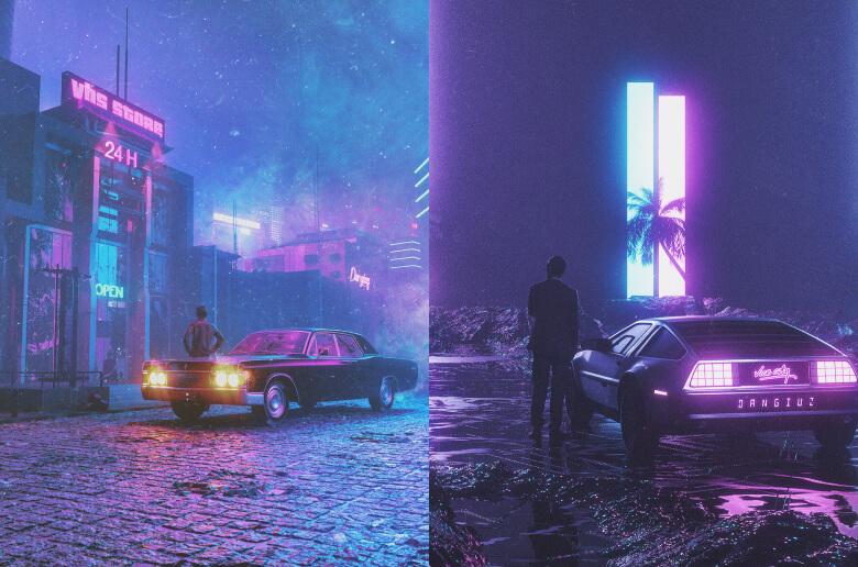 Synthwave Postmodern by https://www.behance.net/dangiuz