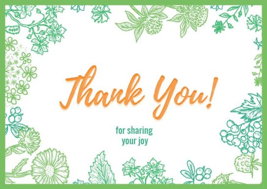 Thank you card on Greens Frame