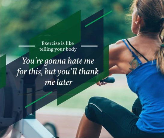Sporty young Woman with motivational quote