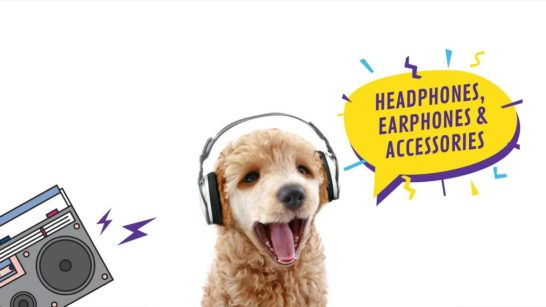 Headphones Ad Funny Dog with Bouncing Head