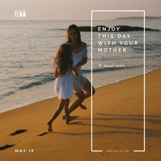 Mother and daughter by the sea on Mothers Day