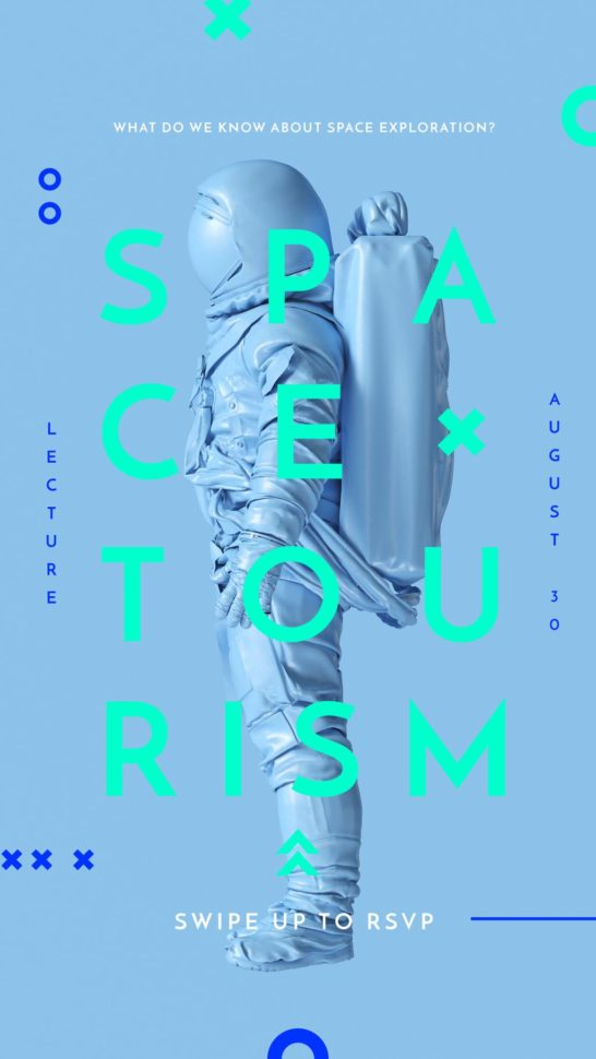 Space Tourism Man in Astronaut Suit in Blue
