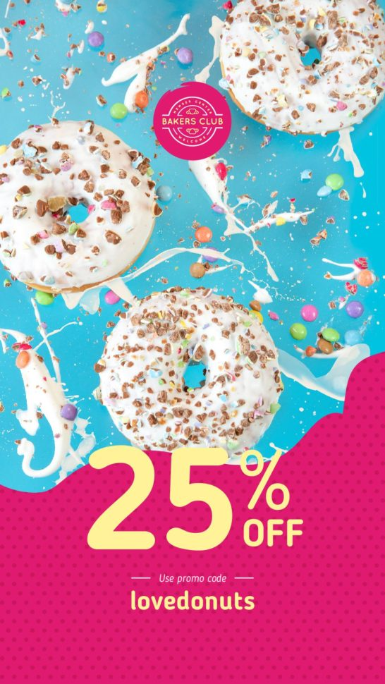 Bakery Ad with Glazed Donuts
