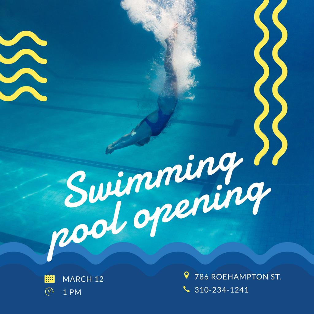 Swimming Pool Opening Announcement Swimmer Diving