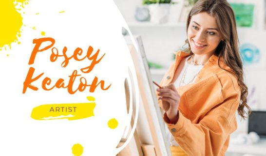 Art Lessons Ad with Woman Painting by Easel