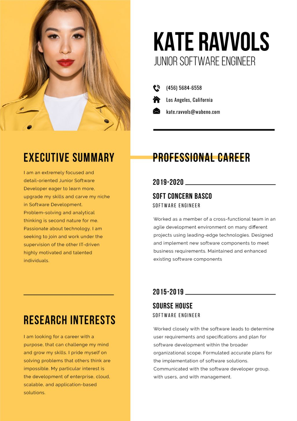 Software Engineer professional profile