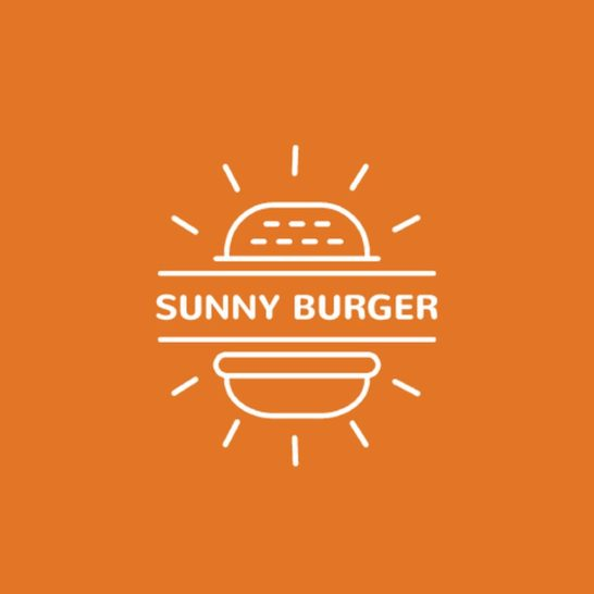 Fast Food Ad with Burger in Orange