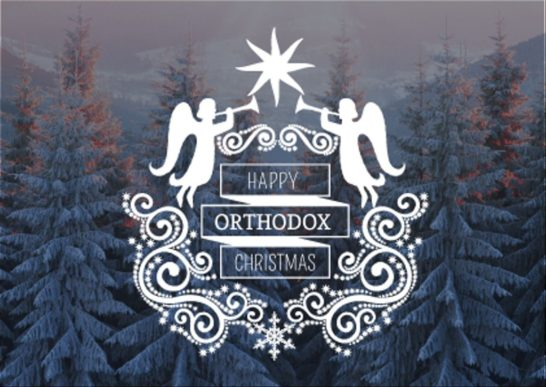 Happy Orthodox Christmas Angels over Snowy Trees