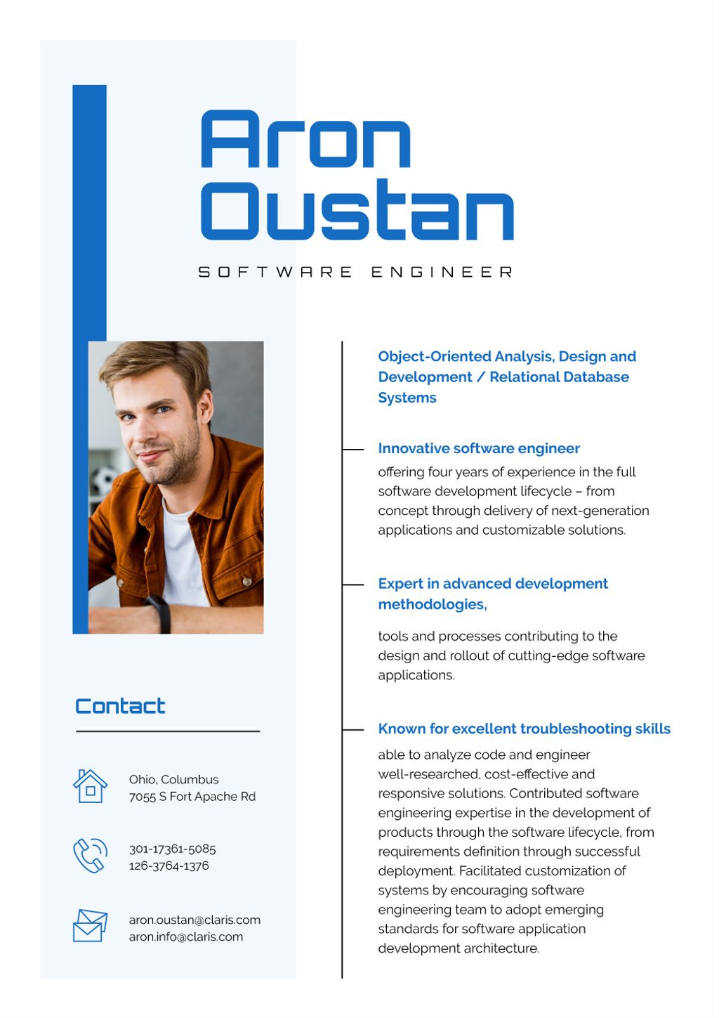 Software Engineer Professional Skills and Experience