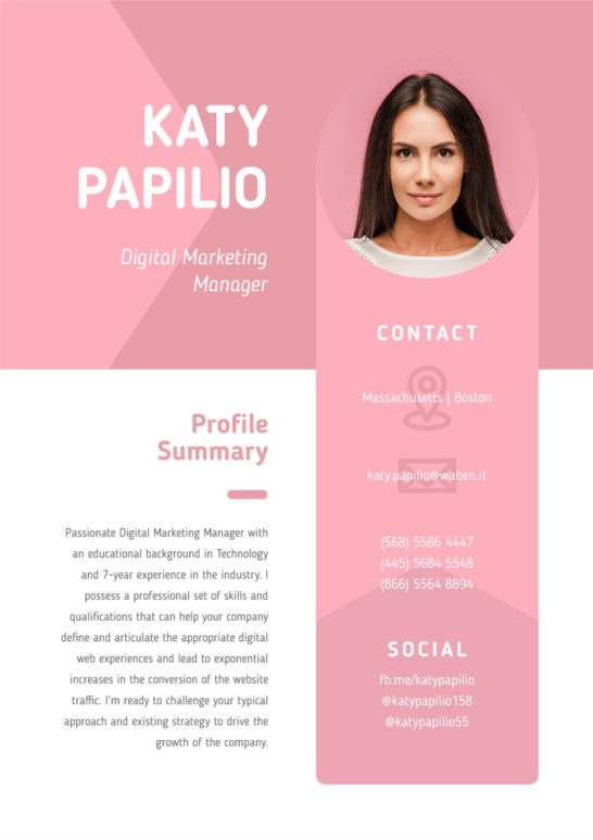 Professional Marketing Manager profile