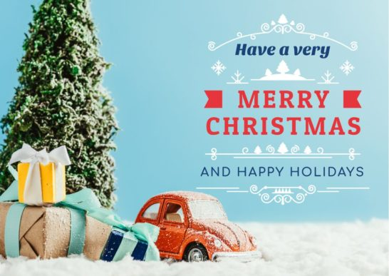 Merry Christmas Greeting Toy Tree and Gifts
