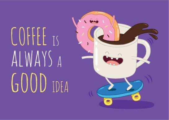 Coffee Cup Riding Skateboard
