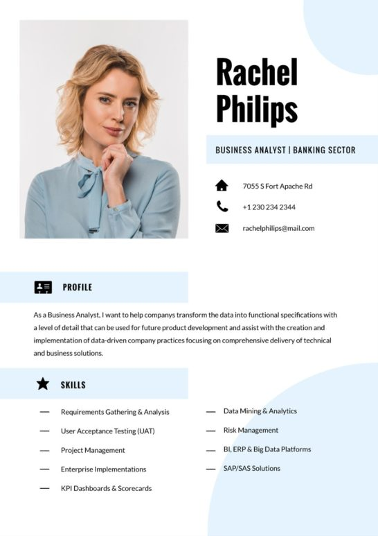 Business Analyst in Banking industry professional profile