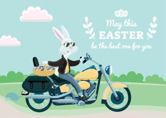 Easter Greeting Bunny on Motorcycle