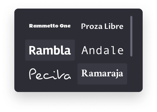 fonts library screen