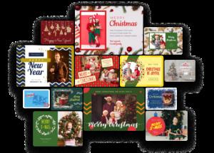 Βιβλιοθήκη του Crello με πρότυπα για χριστουγεννιάτικες κάρτες