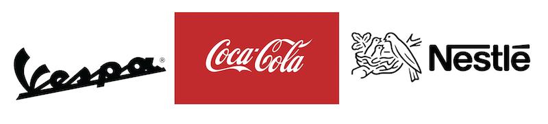 logos Vespa, Coca Cola, Nestle
